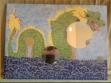 Johnny Q. designed this 2 foot by 3 foot mosaic mirror to donate to the Tecumseh Dragon Boat Festival and to be raffled off to one lucky winner. Each tile was hand-broken and specifically placed to create an image of a dragon pushing through the water.