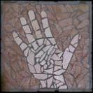 Johnny Q.'s hand as a mosaic art piece